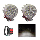 #1: A2D 9 LED Small Round Auxiliary Bike Fog Lamp Light Assembly White Set of 2 with Switch-Hero Passion Plus
