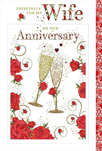 Nigel Quiney Großen Luxus-Anniversary Karte mit mit Frau Flöten und Rosen Rosen Flöten