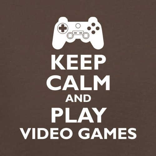 Keep Calm and Play Video Games - Herren T-Shirt - 13 Farben Schokobraun