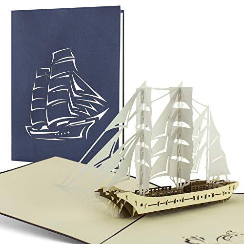 B11 Reise Geldgeschenk, Pop-Up-Karte mit Segelschiff, Geschenkgutschein für eine Reise, Boot, Schiff, edel