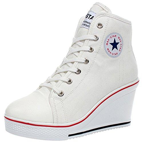 wealsex Sneaker Donna Zeppa Alte Donna Scarpe Lato Zip 8 CM Allacciate Donna Tela Scarpe da Moda Sneaker (Bianca,36)