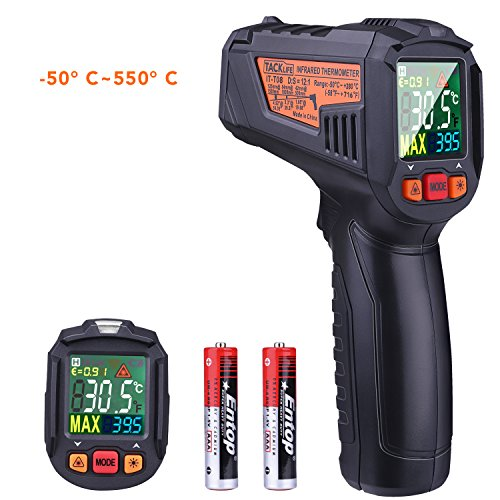 TACKLIFE IT-T08 Termómetro Infrarrojo Digital, Láser Termómetro Gun-50℃~380℃(-58℉~716℉) Medidor IR sin Contacto, Emisividad Ajustable Profesional, Alarma de Temperatura Alta/Baja, Pantalla de Color