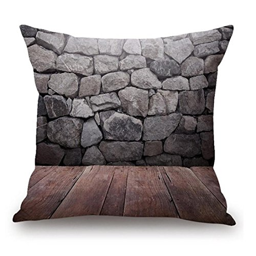 samLIKE Kissenbezug,Woodgrain And Rock Stones Print Leinen Sofa Kissenbezug Home Decor (E)