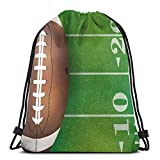 Nisdsgd Drawstring Shoulder Backpack Travel Daypack Gym Bag Sport Yoga, American Football Field and Ball Realistic Vivid Illustration College,5 Liter Capacity,Adjustable.