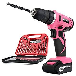 Hi-Spec Pink 10.8V Cordless Drill Driver with 1500 mAh Lithium-Ion Battery, 19 Position Keyless Chuck, Variable Speed Switch and 30 Piece Drill and Screwdriver Bit Accessory Set in Storage Case