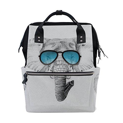 bennigiry Sketch Afrika Elefant Sonnenbrille Wickeltasche Rucksack groß Kapazität Reise Back Pack Wickeltaschen Organizer Multifunktions-Baby Staubbeutel für Mama