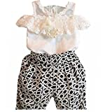 Baby-Kleidung,Xinan Kind-Mädchen-Plaid Strapless Sling Spitze-Hemd Top Pant Set Kleidung (100, Weiß)