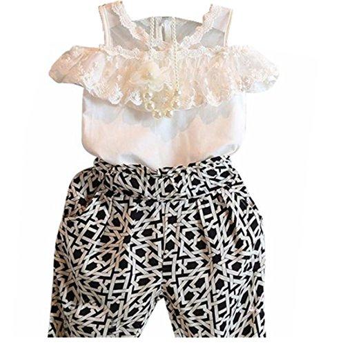 Baby-Kleidung,Xinan Kind-Mädchen-Plaid Strapless Sling Spitze-Hemd Top Pant Set Kleidung (130, (Bodysuit Strapless)