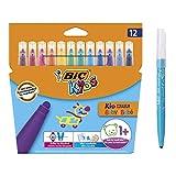 BIC Kids Fasermaler Kid Couleur Baby Stifte - auswaschbare Filzstifte für das Malen ab 1 Jahr - 1 x 12 Babystifte in bunten Farben - Im Kartonetui