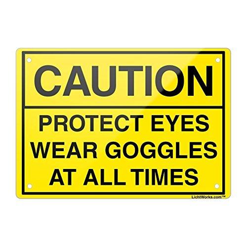 Vorsicht Aluminium Metall Schild Vorsicht Schützen Augen tragen Brillen, 45,7x 30,5cm Zoll entworfen, hongdongdds