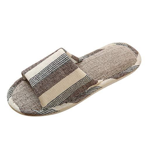 AIni Herren Schuhe,Mode 2019 Neuer Heißer Sale Beiläufiges Paare Innen Anti Rutsch Gestreifte Schuhe Hausschuhe Strand Partyschuhe Freizeitschuhe(41-42,Kaffee)