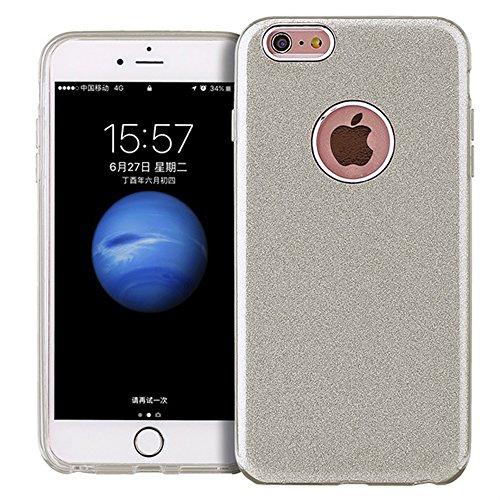 iPhone 6 / 6S Custodia, CHENXI Glitter Brillante 3 Strato ibrido con Hard PC + Morbido TPU Bumper Antiurto Protettiva Shock Assorbimento Case Cover Protezione per iPhone 6s (2015)/iPhone 6 (2014) 4.7 Argento