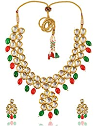 Geode Delight Gold Plated Kundan Necklace Set For Women