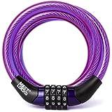 Meetlocks Combinación en espiral cable de seguridad para la bici, Maleta, Taquilla, Dia. y 8x1200mm (L) con código de etiqueta