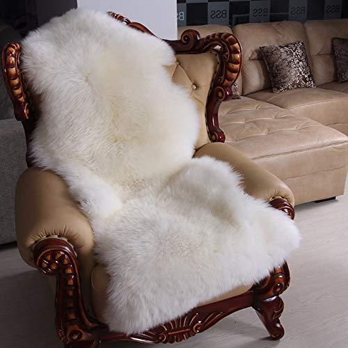 Verziert Faux Pelz (Rmckj Natürlich Schaffell Stuhl Abdeckmatten Australien Lammfell Pelz Sofa Sitzpolster Super Weich Flauschige Dick Wolle Teppiche,White-75x125cm(30x49inch))