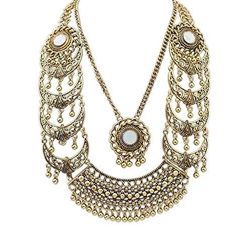 Aooaz Böhmen Stil Halskette Für Frauen Vergoldet Damen Anhänger Halskette Hohl Bead Zwei Chain Gold Weihnachten