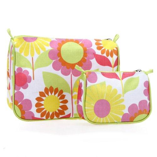 Clinique Fabric Floral Makeup Travel Cosmetic Bag (1 regular +1 mini bags)