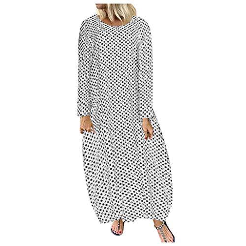 Bodycon Casual Herbst Dresses für Frauen Langarm Polka Dot Shirt Druck Kleid Langes Kleid Sommerkleid Plus Size ()