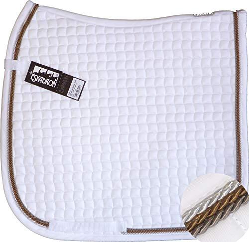 ESKADRON Cotton Schabracke weiß, 3fach Kordel silber,cognac,schlamm, Form:Dressur