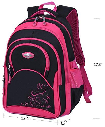 Schulrucksack Maedchen,COOFIT Mädchen Schulrucksack Rucksäcke Schulranzen Schultasche Tasche Travel Sport Outdoor Rucksack für Schüler (Coofit Design Rose) - 2