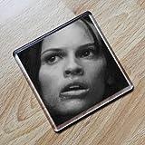 HILARY SWANK - Original Art Coaster #js002
