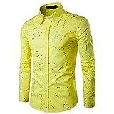 TEBAISE Herbst-Feiertags-Mens-Bier-Party-Konzert-Datierungs-hübsches zufälliges Langes Hülsen-Hemd-Geschäfts-dünne Sitz-Hemd Gedruckte Bluse(Gelb,EU-52/CN-3XL)