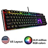 ACGAM QWERTY AG-109R Real RGB Mécanique Clavier de Jeu 104-Key Bleu Interrupteur Anti-ghosting US Layout Étanche Avec 10 Rétroéclairage et Macro Clés pour Gamers Typists Programmeurs