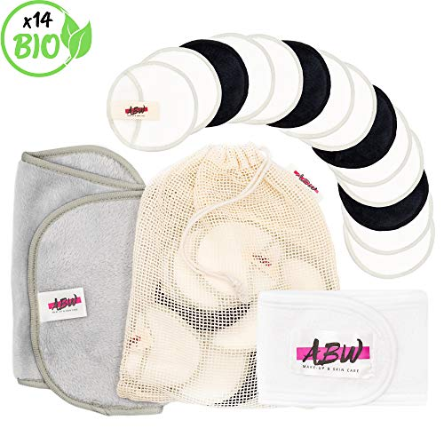 Waschbare Abschminkpads  14 Abschminktücher aus Bambus & Baumwolle mit Wäschebeutel   Umweltfreundlich   Wattepads wiederverwendbar   Gesichtsreinigung   Zero Waste   ABW -