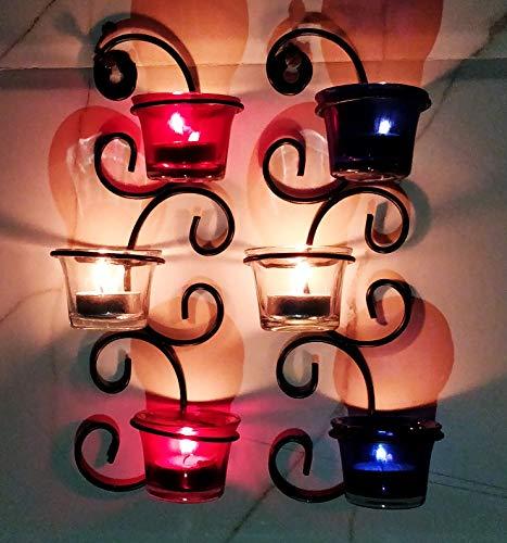 Hashcart Wand Scone Teelicht Kerze Halter Set von 2Metall Kerze Licht Halter Set/Designer Votivkerze Halter Ständer/Tisch Dekorative Kerze Halter, weihgabe Tee Licht für Home Wohnzimmer & Büro -
