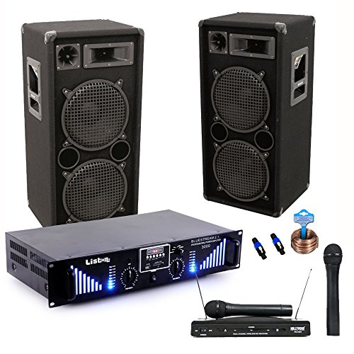 PA Anlage 3000W USB Verstärker MP3 SD Endstufe Funkmikrofon-System Boxen DJ-Typhoon