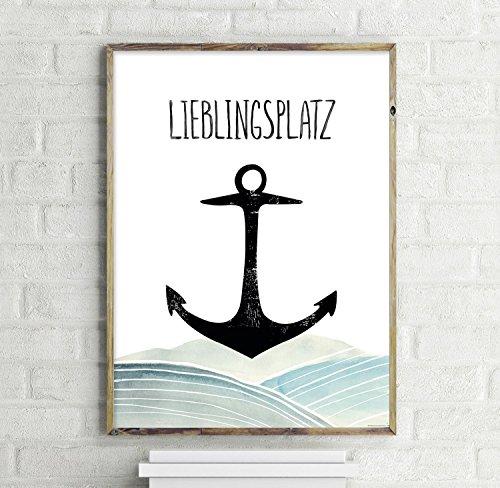 Lieblingsplatz Anker Kunstdruck, Poster 30x40cm - Premium Qualität 200g/m² - Close Up