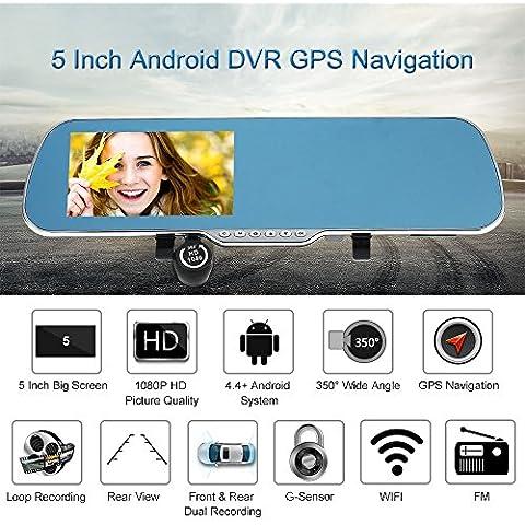KKmoon 5 Pollici Android Sistema Smart GPS Navigazione Auto Specchio Retrovisore DVR Doppia Lente Obiettivo (Gps Specchietto Retrovisore)