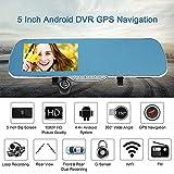 KKmoon 5 Pollici Android Sistema Smart GPS Navigazione Auto Specchio Retrovisore DVR Doppia Lente Obiettivo Anteriore 1080P 720P Telecamera con G-sensore Rilevamento di Movimento Visione Notturna