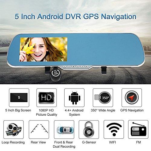 KKmoon 5 Zoll Android Smart-System GPS Navigation Auto R¨¹ckspiegel DVR Doppellinsen Vorne Hinten 1080P 720p-Kamera-Recorder mit G-Sensor Motion Detection Nachtsicht¡