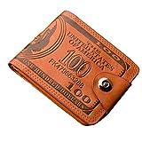 Unisex Kurz Clutch Goosun Männer Währung Grafik Bifold Geschäft Klein Vintage Leder Brieftasche Mit Vielen Kartenfächern Brieftasche Portemonnaie Geldbeutel Portmonee Pockets (1 Stück, Braun)