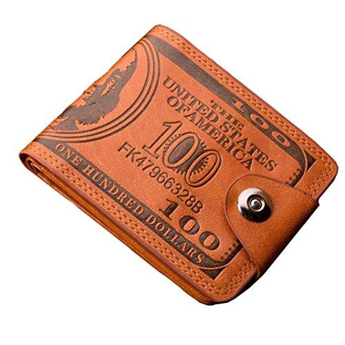 Oversized Vintage Clutch (Unisex Kurz Clutch Goosun Männer Währung Grafik Bifold Geschäft Klein Vintage Leder Brieftasche Mit Vielen Kartenfächern Brieftasche Portemonnaie Geldbeutel Portmonee Pockets (1 Stück, Braun))