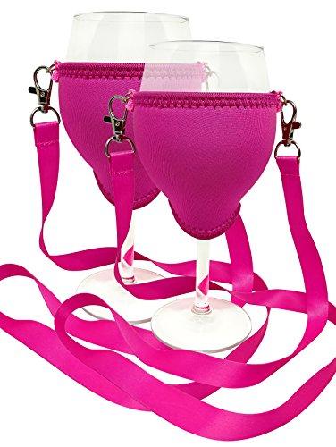 WineHolder - Weinglas-Halter für Den Hals, Weinglashalterung inkl. Halstrageband (Lanyard) (Pink...