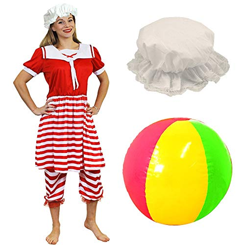Ladies Red and White Victorian Swimsuit Set with Mop Hat and Beachball. Sizes 8 to 20.