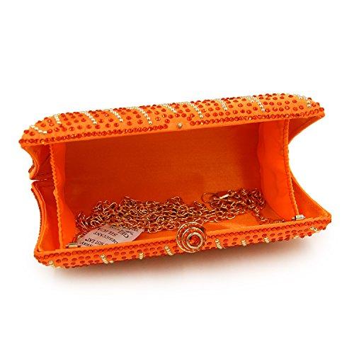 Flada Frauen und Damen Handtasche Abend Clutch Bag Strass Schultertaschen für prom Hochzeit Party Rosy Orange