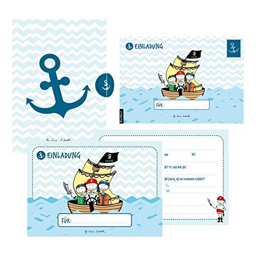 12 Einladungskarten Geburtstag Junge (Piraten). Handgemachte Geburtstag Einladungskarten zum Kindergeburtstag incl. 12 liebevollen Hand designten ... hochwertigen Karton Box. By Lisa Wirth (Personalisierte Adressbuch)