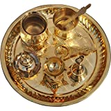 Spillbox Traditional Handcrafted Brass Pooja Thali/Aarti Bartan Plate