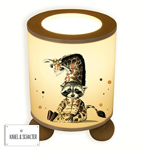 ilka parey wandtattoo-welt® Tischlampe Nachttischlampe Kinderlampe Schlummerlampe Lampe Waschbär im Giraffenkostüm tl048