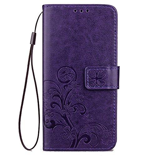 Sweau Compatible avec Galaxy S8 PlusHousse Cuir,Étui Coque en Cuir Galaxy S8 PlusTrèfle à Quatre Feuilles Motif en Cuir PU Embossé Etui en Cuir Housse Portefeuille Etui Flip Cover Case pour Galaxy S5