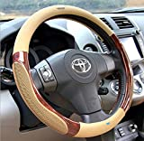 #5: Nikavi Luxury Microfiber Leather Auto Car Steering Wheel Cover Universal 15 Inch (Beige)