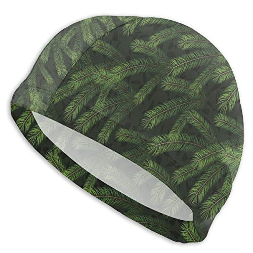 GUUi Swimming Cap Elastic Swimming Hat Diving Caps,Vivid Fir Pine Branches Trees Coniferous Trees Evergreen Nature Forest,for Men Women Youths