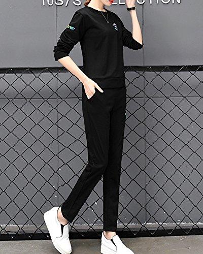 2 Pièce Ensemble Femme Survêtement T-Shirt Manches Longues Pantalon Longues Imprime Gym Yoga Jogging Fitness Casual Noir