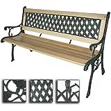 Miadomodo Panca giardino esterno panca in legno con ghisa (design a croce)