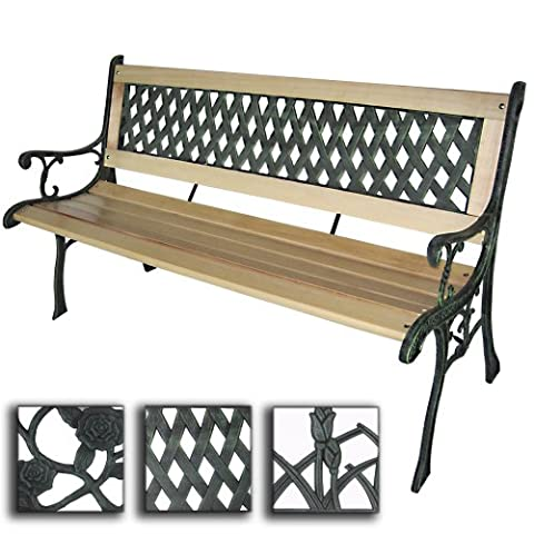 Miadomodo 3 Seater Wooden Outdoor Garden Bench With Cross-Hatch Design