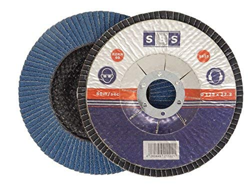 10 Stück SBS Fächerscheiben 125 mm / Korn 80 Blau Schleifscheiben Schleifmop