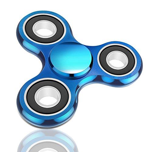 Preisvergleich Produktbild Oriental eLife Fidget Spinner, EDC Tri Finger Hand Metall Aluminium Legierung Spielzeug für Erwachsene Kind, Blau